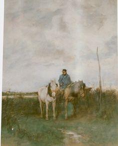 Anthonij 'Anton' Mauve (Zaandam 1838-1888 Arnhem) Jaagpaarden - Kunsthandel Simonis en Buunk, Ede (Nederland).