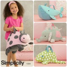 Store toys in these adorable stuffed animal bags! The pattern features a mesh panel so you can see what's inside.
