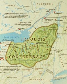 Carte du territoire de la Confédération Iroquoise en 1600. Elle montre les Cinq Nations d'Est en Ouest : les Mohawk, les Oneida, les Onondaga, les Cayuga et les Seneca.  Source: Steven Schoenherr, Department of History, University of San Diego. http://homepage.mac.com/oldtownman/index.html
