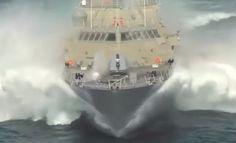 US Navy HIGH SPEED sea trial of USS Milwaukee LCS 5 ship