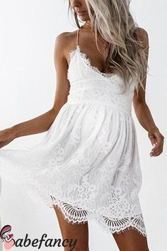Buy CAYA BOX white lace women backless dresses v neck Camisole black sexy strap women dress clothings for ladies mini vestidos . Very Short Dress, Short Mini Dress, White Mini Dress, White Lace, White Sun Dresses, White Chiffon, Black White, Cap Dress, Dress Backs