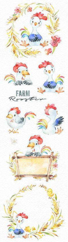 This Farm Rooster watercolor set is just what you needed for the perfect invitations, craft projects, paper products, party decorations, printable, greetings cards, posters, stationery, scrapbooking, stickers, t-shirts, baby clothes, web designs and much more. :::::: DETAILS ::::::