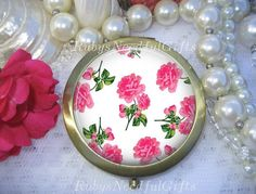 Antique Bronze Compact Mirror, Floral mirror with roses by Rubys Needful Gifts on Etsy.