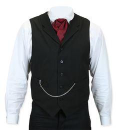 Steampunk Mens Black Solid Notch Collar Dress Vest | Gothic | Pirate | LARP | Cosplay | Retro | Vampire || Callahan Vest - Black