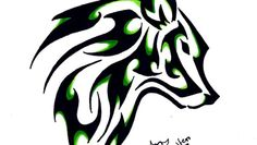 Lone wolf tattoo in Celtic design