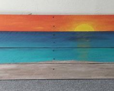 Sunset Pallet Painting 32x14 by ArtsnPallets on Etsy