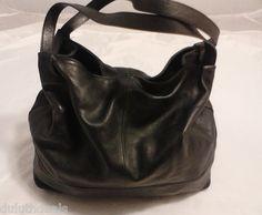 Banana Republic Lamb Leather Shoulder Bag, Slouchy, Hobo Purse in Black