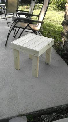 patio end table - RYOBI Nation Projects Porch Table, Deck Table, Patio Side Table, A Table, Patio Chairs, Office Chairs, Side Tables, Wood Patio Furniture, Diy Outdoor Furniture