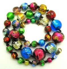 Vtg Art Deco Venetian Necklace Rare Rainbow Foil Glass Beads Very Colorful! #SinglestrandofVenetianbeads #Necklace