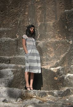 Romantic gray dress with lace by Barzelai on Etsy, $82.00