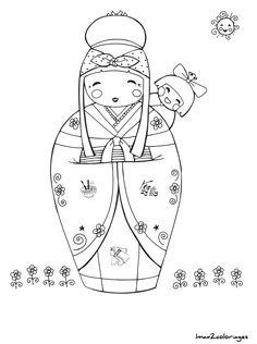 coloriage poupee japonaise numero 16