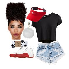 """""""Untitled #83"""" by slaysince on Polyvore featuring Pieces, NIKE, Topshop and HUF"""