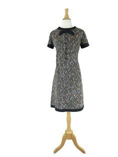 60s Mod Graphic Shift Dress - sm, med