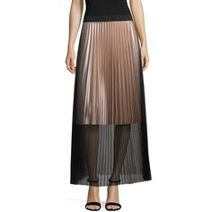 Project Runway Season Finale Winner Tulle Pleated Maxi Skirt ($42) ❤ liked on Polyvore featuring skirts, brown skirt, floor length skirt, long brown skirt, pleated maxi skirt and floor length tulle skirt