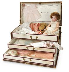 The Memory of All That - Marquis Antique Doll Auction: 91 French Bisque Character, 251, by SFBJ, Original Trunk with Trousseau, Marguerite Simon