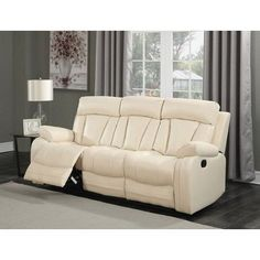 Avery Beige Leather Sofa