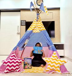 Kids Tents and Teepees for Sale by Playtents, India Girls Tent, Kids Teepee Tent, Teepees, Turquoise Chevron, Orange Chevron, Teepee For Sale, Childrens Tent, The Good Dinosaur, Pink Stars