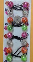 pink clear jumbo beads hair tie girl barrettes Scrunchie Balls Ponytail Holder