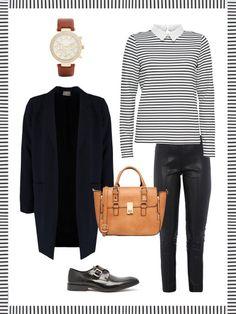 What to wear to work: dein perfektes Büro-Outfit. Mit Lederhose ins Büro. Na klar!Passend dazu ein Ringelshirt und Schnallenschuhe.