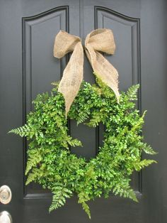 Burlap Holiday Accessories--FERN WREATH INSIDE--MAKE THIS FOR BACK DOOR
