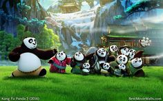 A beautiful green wallpaper with Po and his #panda family :} #KFP3
