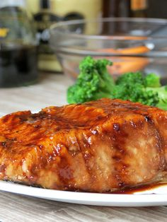 Bourbon Glazed Salmon | YummyAddiction.com  Maybe it's because my 21st is coming up but everything sounds better when it's cooked with booze.