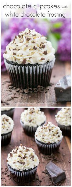 A decadent chocolate cupcake with a billowy white chocolate frosting @natashaskitchen