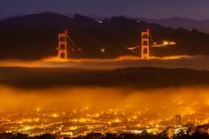 Photo by: Joe Azure #SF #SFC #SanFrancisco #California #Photography #Lights #GoldenGate #GoldenGateBridge #Fog #Foggy