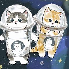 Cute Disney Drawings, Cute Animal Drawings, Cute Drawings, Cute Cat Drawing, Cute Paintings, Cat Character, Kawaii Cat, Cute Little Animals, Cute Cartoon Wallpapers