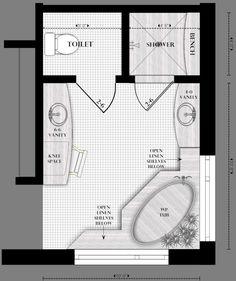 Best 12 Bathroom Layout Design Ideas ideas about Bathroom design layout Master Bathroom Layout, Bathroom Design Layout, Master Bedroom Design, Small Bathroom, Layout Design, Bathroom Ideas, Master Bathroom Plans, Design Ideas, Bathroom Layout Plans