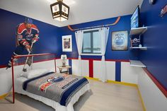 hockey bedroom ideas bedroom modern with nhl wall stickers slip hall and stair runners Boys Hockey Bedroom, Hockey Room Decor, Kids Bedroom, Hockey Theme Bedrooms, Hockey Girls, Bedroom Themes, Bedroom Decor, Bedroom Ideas, Industrial Bedroom