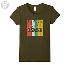 Womens Retro Vintage Legend August 1951 Birthday Gift tshirt Medium Olive - Birthday shirts (*Amazon Partner-Link)