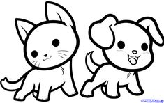 How to Draw Kawaii Animals, Step by Step, anime animals, Anime, Draw Japanese Anime, Draw Manga, FREE Online Drawing Tutorial, Added by Dawn...