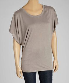 Love this TROO Pebble Brown Cape-Sleeve Top - Women by TROO on #zulily! #zulilyfinds