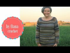 Crochet granny stitch sweater. The yoke- by Oana - YouTube