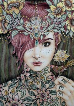 Very nice finished coloring page from a Hanna Karlzon coloring book