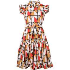 La Double J Printed Shift Dress ($575) ❤ liked on Polyvore featuring dresses, kirna zabete, kzloves /, prints please, full pleated skirt, white dress, white pleated dress, full white skirt and white day dress