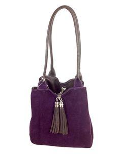 Lyn, Reversible Italian leather handbag. Brown leather/purple suede, reversed
