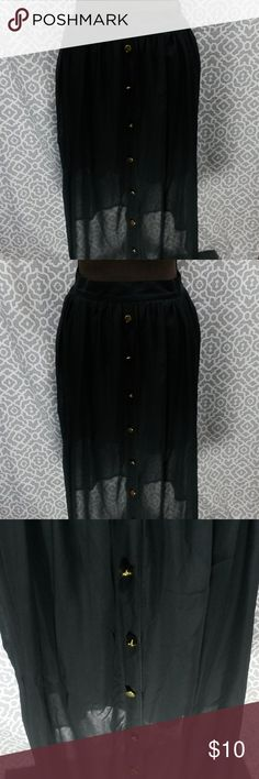 Forever 21 Black Gold Button Calf Skirt Size S/P This item is new with tags   Measurements(are taken laying flat) Waist 26 in  Length 27 in   Material  100% Polyester  Any questions please feel free to contact me. Thank you for looking   Fab Finds Forever 21 Skirts
