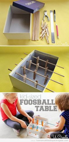 Would be cool to paint the sticks and clothes pins two different colors for this Mini Foosball Table For Kids - I love make your own toy projects! Diy Crafts For Kids, Projects For Kids, Fun Crafts, Craft Projects, Arts And Crafts, Kids Diy, 5 Kids, Craft Kits, Craft Ideas