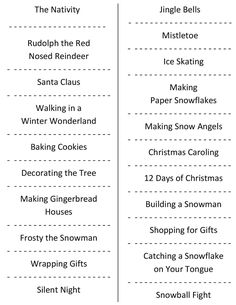 A free printable Christmas Charades party game - so simple: just print, cut & play! Classic holiday events and songs included in this free party game.