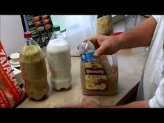 In this video we package rice, sugar and cereal using 2 liter soda bottles and a 1 gallon tea jug.We used a 300cc oxygen absorber in the 2 liter bottles and a 300cc in the gallon jug for the cereal. We did not use an oxygen absorber with the sugar. Please check your containers on a regular basis to ensure a good vacuum is holding with your items...