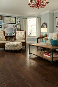 Wall colour with hardwood flooring, the chandelier, accessories...