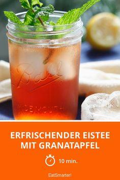 Erfrischender Eistee mit Granatapfel