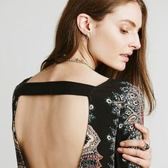 Boho Shift Dress New w/o tags Navy open back dress with boho print. New without tags. Dresses Backless
