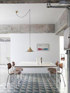 piso estampado e concreto aparente