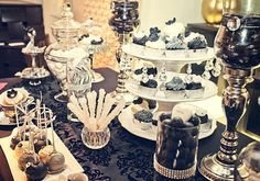 Pretty black and white dessert table White Dessert Tables, Dessert Table Backdrop, White Desserts, Black White Parties, Black And White Theme, Wedding Invatations, Great Gatsby Party, 70th Birthday Parties, Candy Table