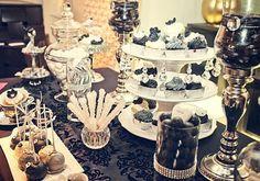 Pretty black and white dessert table #dessserttable