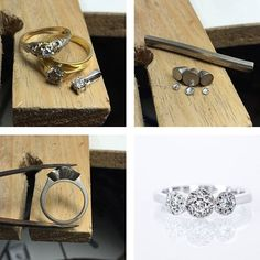 From the workshop, remodelling this client's diamonds from old jewellery into a inspired illusion set ring. Jewelry Tools, Old Jewelry, Wire Jewelry, Handmade Jewelry, Jewelry Design, Jewellery, Make Your Own Jewelry, Jewelry Making, Ring Tutorial