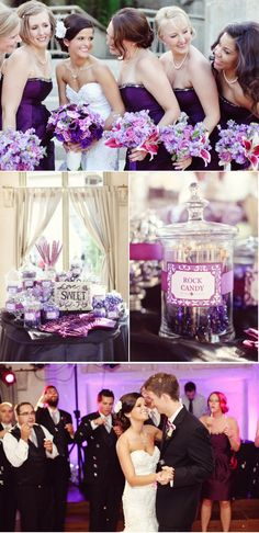 Purple wedding ideas... love the candy bar. The candy table included white swirly pops, purple jelly beans, white gum balls, Hershey mini bars, milk chocolate kisses, white wedding sweet tarts, laffy taffy and more